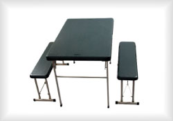 Blow mould table and bench seats